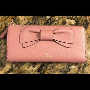 Kate Spade Pink Olive Drive Bow Leather Wallet